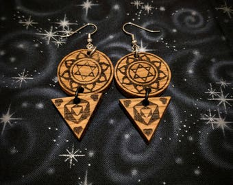 Kamala Yantra Tiered Earrings in Oak