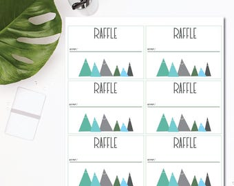 Baby Shower Raffle Tickets - Instant Download - Mountains Theme - Mint, Blue, Gray - Printable - 8.5x11 Digital Download