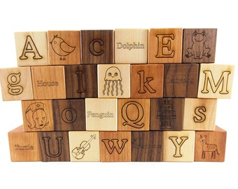 26 Picture Alphabet Building Blocks Natural & Organic -Wooden Toy Blocks