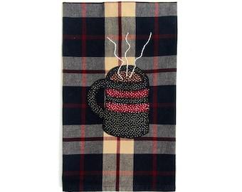 Christmas Tea Towel, Winter Tea towel, Hot Chocolate Applique Tea Towel, Kitchen Towel, Dish Towel, Hand Towel, Tea Towel, Christmas Decor