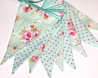 Fabric garland. Flag garland. Bunting Banner. Shabby chic. Home decor. Wall decoration. Baby room decoration.