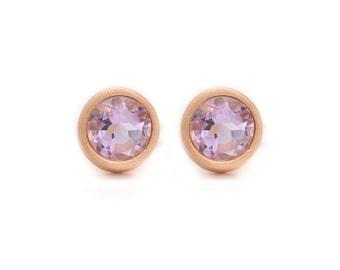 Amethyst Stud Earrings - Gemstone POP Stud Earrings - Rose Gold Studs - Purple Amethyst in Rose Gold - 18k Gold Vermeil - Studs