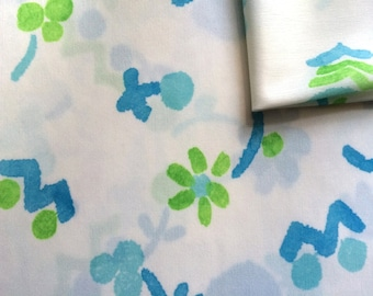 Vintage Fabric 70's Polyester, White, Green, Blue, Floral, Material, Textiles