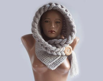 Instant Download Knitting Pattern - PATTERN Hooded Scarf, Scarf Hood, Chunky scarf, Scoodie, Instant Download, DIY