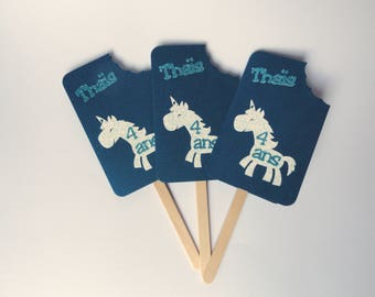 Invitation card / announcement in the shape of ice with a Unicorn in shades of blue, handmade