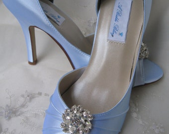 Blue Wedding Shoes Blue Bridal Shoes Crystal Rhinestone Flower Shoes Over 100 Custom Color Choices