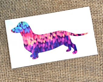 Dachshund Decal, Dachshund Vinyl Sticker, Preppy Dachshund, Preppy Puppy, Lilly Inspired Dog, Dog Vinyl Decal, Watercolor Vinyl
