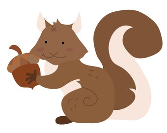 Squirrel Wall Decal - Squirrel Fabric Wall Decal