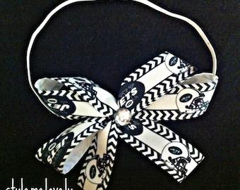 New York Jets Baby girl Boutique Bow Elastic Headband