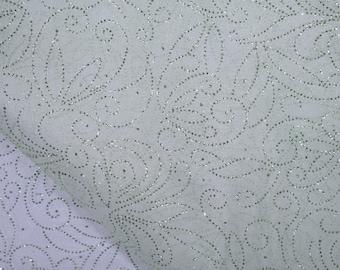 Organza Fabric- Scroll Glitter Organza in Light Green By the Yard
