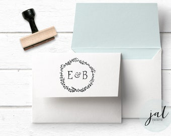 Monogram Stamp- Custom Initials Stamp- Wedding Stamp- Wedding Monogram Stamp- Custom Wooden Stamp- Laurel Wreath Stamp- Initials Monogram