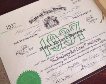 Antique 1937 New Jersey Real Estate License. Office Wall Decor. Paper Ephemera.