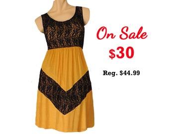 Gold + Black Lace Chevron Dress
