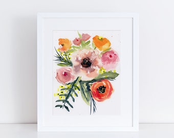 Watercolor Floral Print, Flowers, Wildflower Art, Fine Art, Floral, Modern Art, Ink, Minimalist, Floral Bouquet, Abstract Art, Bohemian