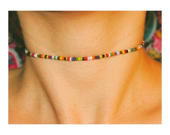 Seed Bead Choker / Rainbow Beaded Choker / Multi-Color / Glass Bead Choker / Multi-Color Seed Bead Choker / Dainty / Trendy Choker/ Delicate