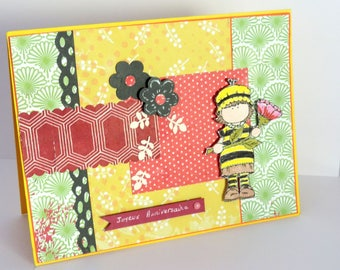 Kids birthday card, little bee and flower, multicolored