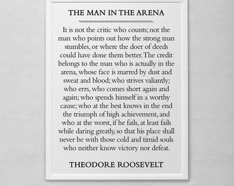 The Man in the Arena Motivational Poster Print by Theodore Roosevelt
