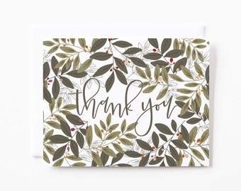 Thank You Card Set of 8 | Illustrated Floral Thank You Cards with Hand Lettered Calligraphy : Folk Garden Thanks Cards