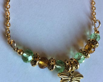 Golden Dragonfly with Brown and Green Chrystal and Antique Spacers