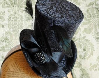 Gothic Mini Top Hat,,Victorian Tea-Party Fascinator Hat,Black Burlesque Mini Top Hat-Custom-Made to Order