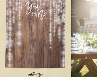 Woodland Wedding, Rustic Wood Backdrop, Custom Tapestry, Dessert Table Wall, Wedding Backdrop, Step and Repeat // W-G27-TP REG1 AA3