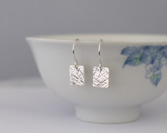 Silver Square Earrings - Small Hammered Textured Metalwork Sterling Silver Dangle Earrings Jewellery Gift for Her by Emma Dickie Design