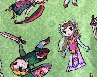 Legend Of Zelda Fabric / Zelda Characters Fabric /Zelda and the Gang Fabric/  Cotton / By the Yard