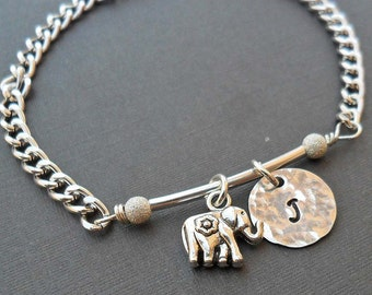 Good Luck Bracelet - Lucky Elephant and Initial - Personalized Initial Bracelet - B-16