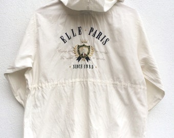 Vintage Elle Paris Woman Cotton Light Jacket with Hoodie