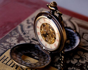 Brass Mechanical Pocket Watch Necklace 6