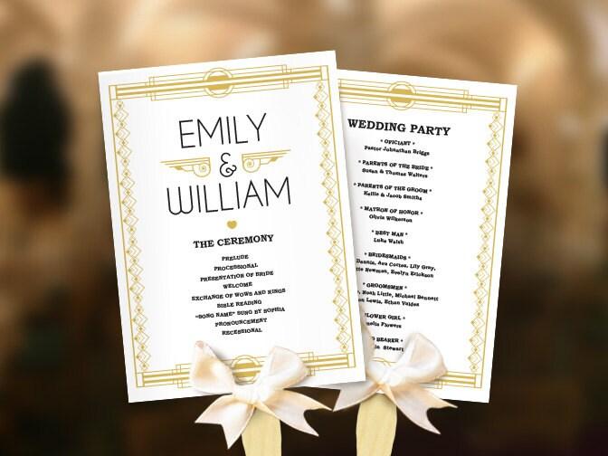 Wedding fans Great Gatsby program template DIY. Roaring