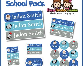 School Pack - Personalized Waterproof Labels Shoe Labels Clothing Tag Labels Bag Tags Daycare Labels Name Labels - Out of this World