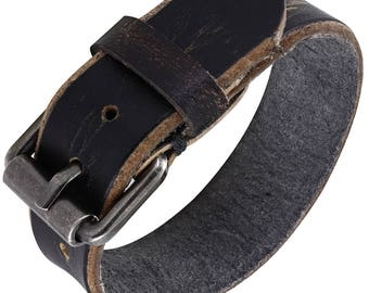 "1 Leather Charcoal Buckle Cuff - 3/4"" Wide Wrist Band Adjusts from 7"" to 8.5"" Wrist - QTY 1"