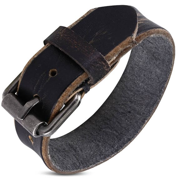"4 Leather Charcoal Buckle Cuffs - 3/4"" Wide Wrist Band Adjusts from 7"" to 8.5"" Wrist - QTY 4"