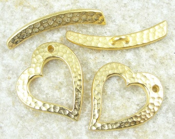 Large Gold Heart Toggle Clasp Findings TierraCast HAMMERTONE HEART Clasp Set - Tierra Cast Textured Metal Gold Toggle Findings (PF173)