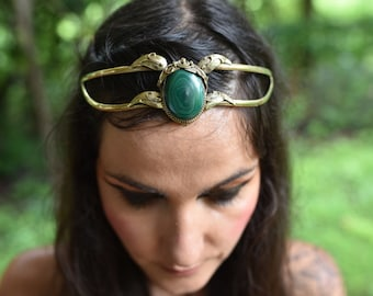 SALE was 138USD - Elven Fairy Pixie Brass Goddess Malachite Crystal Stone Leaf Tiara Crown Head Piece OOAK
