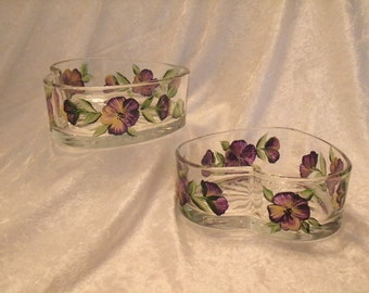 PANSY DISHES, heart shaped, set of two