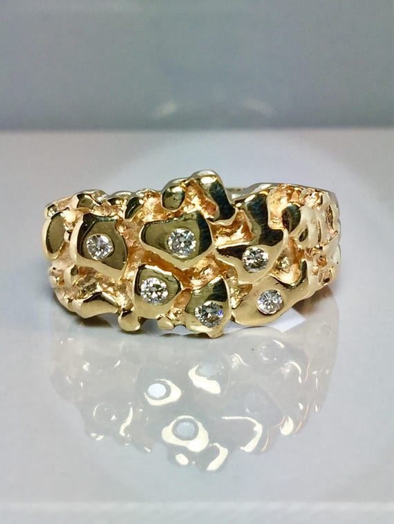 Vintage 14k solid gold Mens Diamond Nugget Rings Men