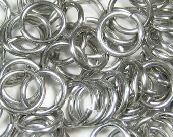 """18swg 1/4"""" ID Bright Aluminum Jump Rings - Saw Cut - (1.2mm x  6.65mm ID)"""