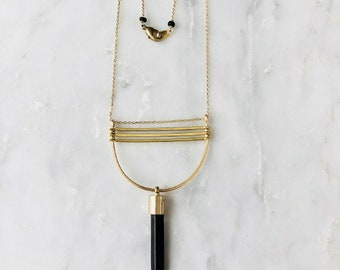 Gold Bars and Black Spike Necklace