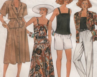Vintage Summer Wardrobe: Jacket, Camisole Top, Skirt Pants & Shorts, Womens Size 14 Uncut Sewing Pattern, 1980s