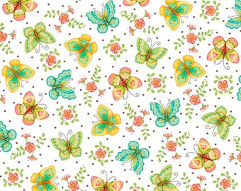 All A Flutter - 26360-Z - Butterflies White - by Karla Dornacher for Quilting Treasures