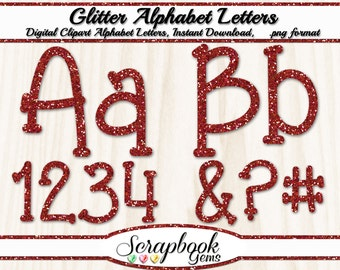 Red Glitter Letters & Numbers Digital Clipart, 76 High Quality PNG files, Instant Download