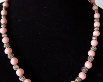 Pink Pearl Polymer Necklace
