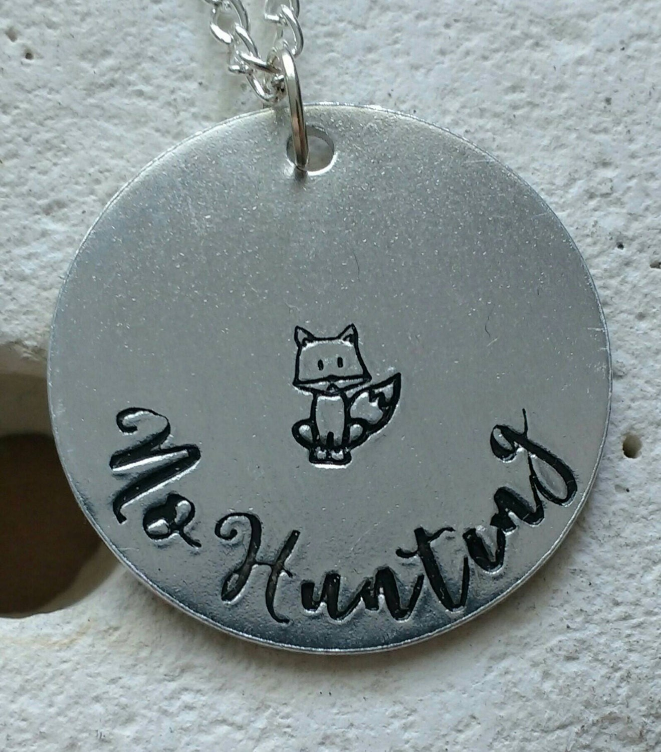 No hunting fox necklace - vegan jewellery - vegan necklace - jewelry - animal rights jewellery - handstamped 28mm pendant on 18