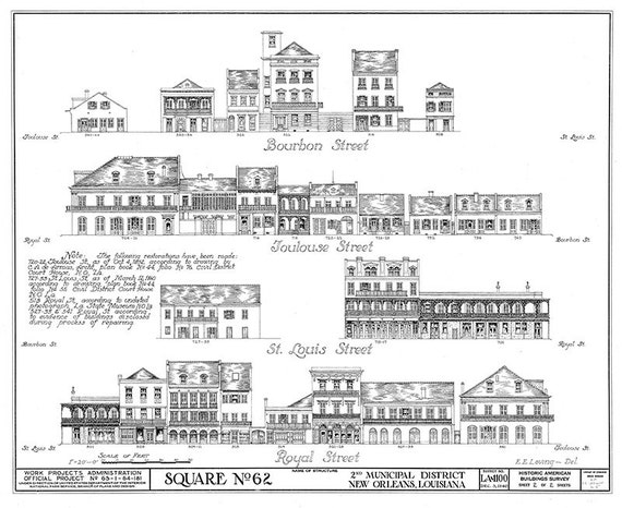 New orleans french quarter block blueprint of bourbon street malvernweather Images