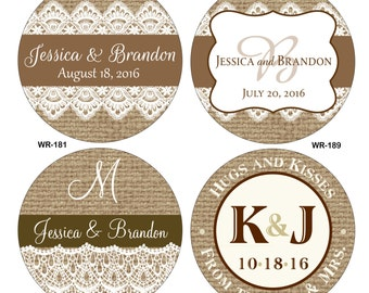 60 2.5 inch Burlap / Linen and lace Personalized Glossy Waterproof Wedding Stickers - change designs to any color, wording etc
