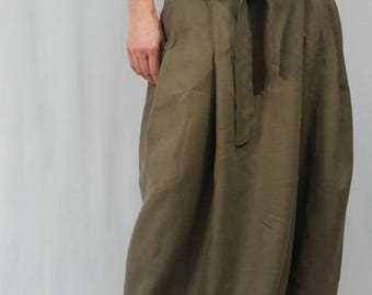 Maxi Linen Skirt / Oversized Summer Maxi Skirt with Pockets and Belt / Casual Long skirt