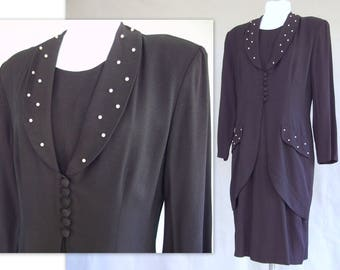 Black 1980's Dress, Vintage Dressy Dress with Pearls by Impulsive, Fits Size 8 to 10, Small to Medium