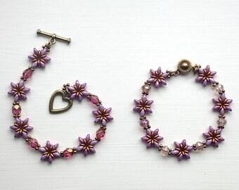 Purple Flowers Beaded Bracelet